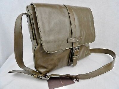 NWTs THE BRIDGE *currrent* Marco Polo leather business bag in olive green