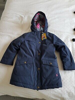 NEW girls joules winter navy blue coat with hood and fleece lining age 6 years