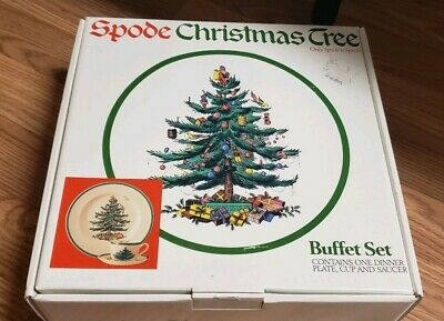 Spode Christmas Tree BUFFET SET 3 piece w/Box NEVER USED dinner plate cup saucer