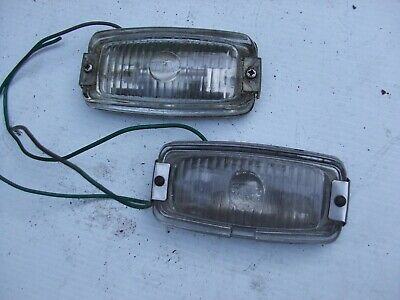 VINTAGE WIPAC REVERSING LIGHTS  with GLASS LENSES STAINLESS FRAMES