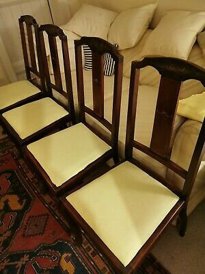 Set of 4 dining chairs Edwardian Mahogany with painted splat back.