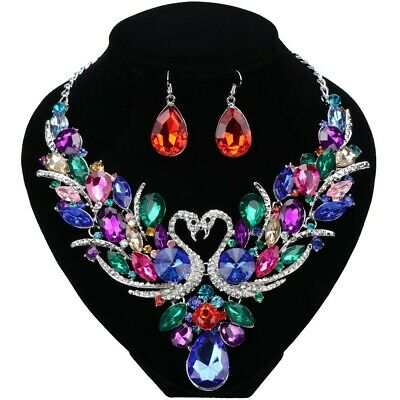 Swan Silver Plated Crystal Jewelry Set For Brides Necklace Earring Wedding Prom