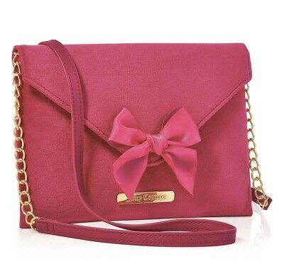 JUICY COUTURE hot pink soft bow chain strap purse pouch clutch shoulder bag NEW