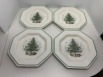 "4 NIKKO Japan Classic Christmas Collection 10 3/4"" Dinner Plates, Excellent!"