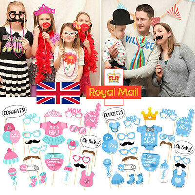 25pc Baby Shower Photo Booth Props Little Boy Mister New Born Party Decoration