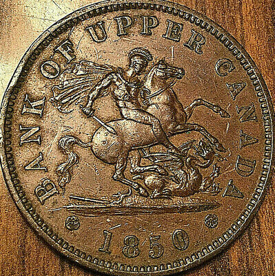 1850 UPPER CANADA DRAGONSLAYER ONE PENNY TOKEN - With dot - Excellent example!