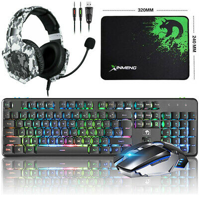UK Game Keyboard + Mice Pad + Mouse + Headphone Rechargeable Wireless Keyboards