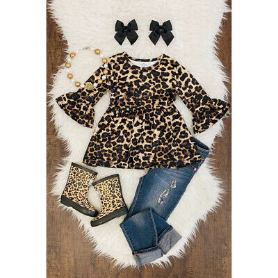 2Pcs Kids Baby Girl Outfits Leopard Tops Dress+Destroyed Jeans Pants Clothes Set