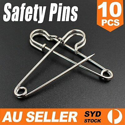 10 Large Safety Pins 3.5 Inch 87mm Silver Tone Metal Craft Big Sewing Quilt Need