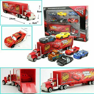 7Pcs/Set Cars 2 Lightning McQueen Racer Car&Mack Truck Collection Toy Gift AU !R