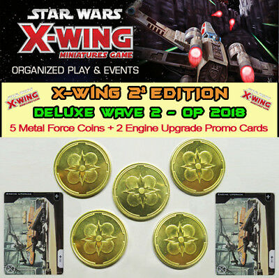 STAR WARS X-WING 2.0 - DELUXE WAVE 2 2018 - 5 Metal Force Tokens + 2 Engine Upg.