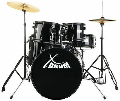 Beginners Drum Set Percussion Kit Support Stands Pedals Cymbals Stool Black