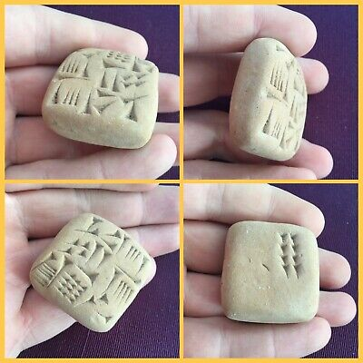 Fantastic Ancient Near Eastern Clay Tablet With Early Form Of Writing C. 3000Bc