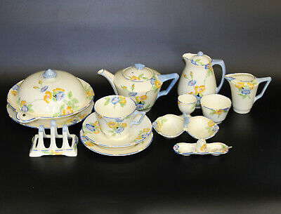 Attractive Art Deco Crown Derby Rosemary 13 Piece Breakfast Set For One