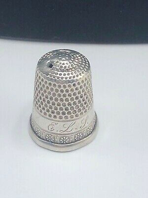 Antique Simon Bros. Sterling Silver Thimble Size: 8  -  Monogrammed