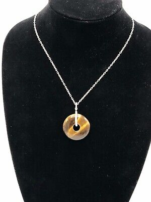 Ralph Lauren Silver Tone Semi Precious Tiger's Eye Disc Pendant Necklace