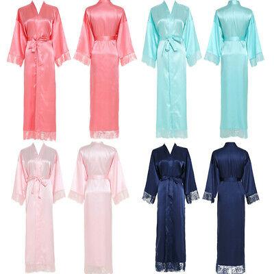 UK Woman Silk Satin Lace Robes Bridal Wedding Bride Bridesmaid Robe Bathrobe