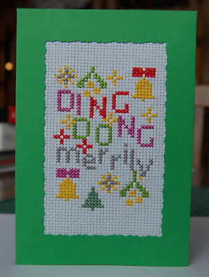 Completed Cross Stitch Christmas Card Ding Dong Merrily Green