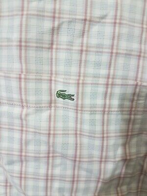 Super Cool 100% Genuine Mens Lacoste L/S White Check Shirt In Size 44, XL