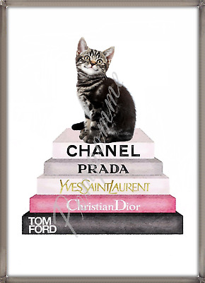 Coco Chanel Print Digital Art Home Decor Cat Picture Bedroom Fashion Books A4