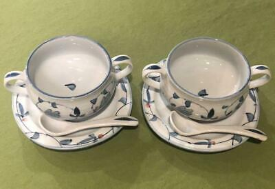 Arita Ware Soup Plate Cup Saucer Spoon 2 Customer Set