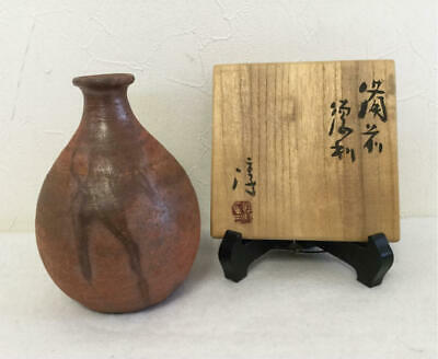 Human National Treasure Isesaki Sakusaku Bizen Ware Sake Bottle Supply Box