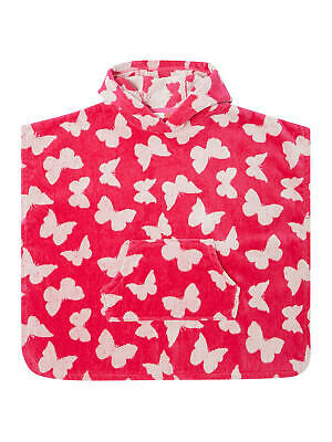 John Lewis & Partners Girls' Butterfly Towel Poncho / Pink Size Small Free P&P