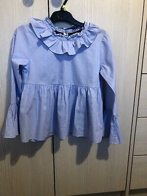 tutti piccolo Girls Frilly Shirt Age 10 Blue