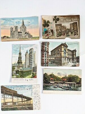 Lot of 6 1906-1925 New York City Postcards RR Curve St Paul's Central Park Court