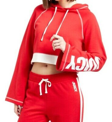 Juicy Couture Ladies Girls  Red White cropped Hoodie Size M
