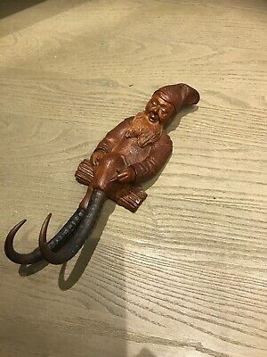 Large Antique Black Forest Hand Carved Wooden Gnome Whip Holder Circa 1880