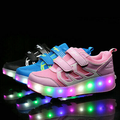 Kids Roller Wheel Shoes Girls Boys Led Skate Sneaker USB Rechargable Gift