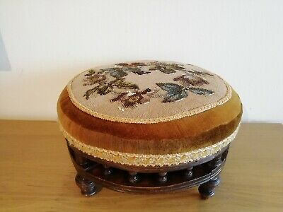Vintage Round Foot Stool Floral Beaded Needlepoint Top and Hard Wood Frame