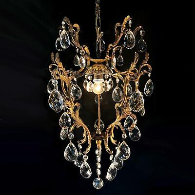 Lovely antique FRENCH CRYSTAL BRASS CAGE CHANDELIER light hall lamp lantern