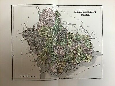 1884 Old Antique Colour Map, Scotland, Kirkcudbright Shire, Dumfries, Creetown