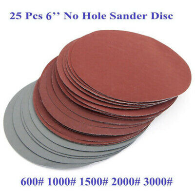 "25pcs 6"" 150mm Sander Sanding Discs Pads 600-2000 Grit Hook & Loop Sandpaper Kit"