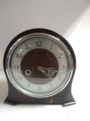 Vintage Smiths Enfield Wooden Mantle Clock With Pendulum Made in Great Britain