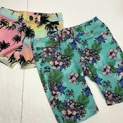 Justice Girls Shorts Size 8 Pair of two Tropical Palm Trees Floral Pockets