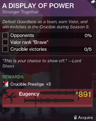 Destiny 2 Shadowkeep Display of Power Crucible Season 9 Recovery Ps4/PC/Xbox