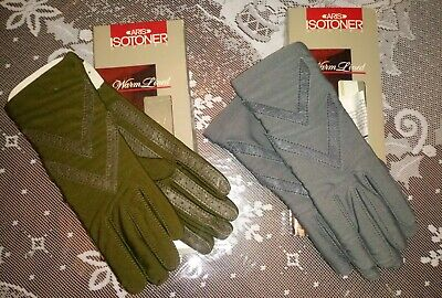 Nwt Aris Isotoner 2 Pair Vintage Warm Lined Women's Driving Gloves One Size