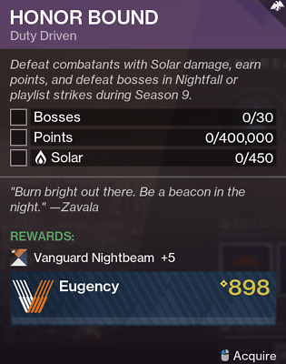 Destiny 2 Shadowkeep Honor Bound Vanguard Season 9 Quest Recovery Ps4/PC/Xbox