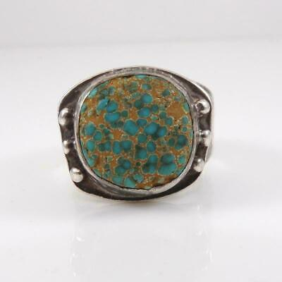 Vtg Antique Early Native American Coin Silver Turquoise Wide Ring Sz 11 LFK5
