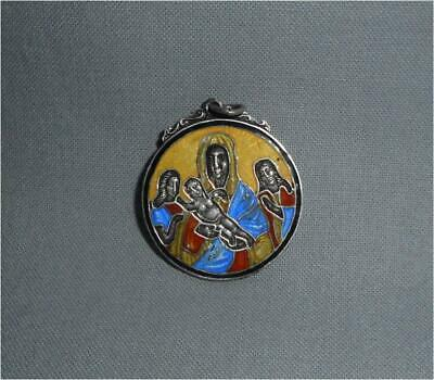 Antique Russia TOP HIGH AGED 84 SILVER MARKED ENAMELED MOTHER GODDESS PENDANT