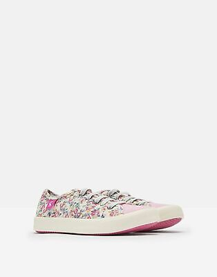 Joules Girls Coast Pump Canvas Lace Up Trainers in WHITE DITSY Size Childrens 9