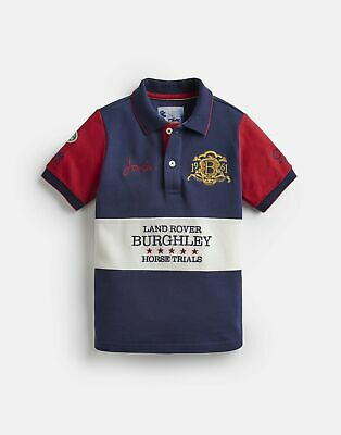 Joules Womens Official Burghley Horse Trials Polo Shirt in FRENCH NAVY Size 6yr