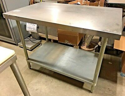 """Stainless Steel Prep Table Commercial Kitchen Table 48"""" W"""