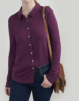 Joules Womens Immy Jersey Shirt in ITALIAN PLUM Size 10