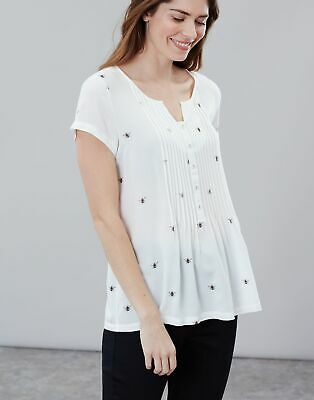 Joules Womens Lucia Short Sleeve Pop Over With Pintucks in CREAM BEES Size 8