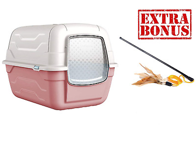 AJS LTD ?? Cat Pink Hooded Litter Tray Box Large Enclosed Loo Indoor Puppy Kitty