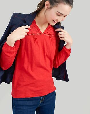 Joules Womens Dolly Woven And Jersey Mix Top in RED Size 12
